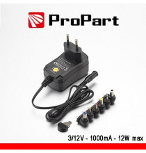 Alimentatore Switching Multitensione 3-12V 1000mA 12W max