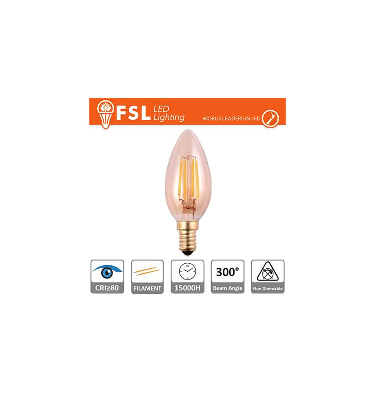 Lampada Oliva Filamento Ambra - 2W 2200K E14 180LM