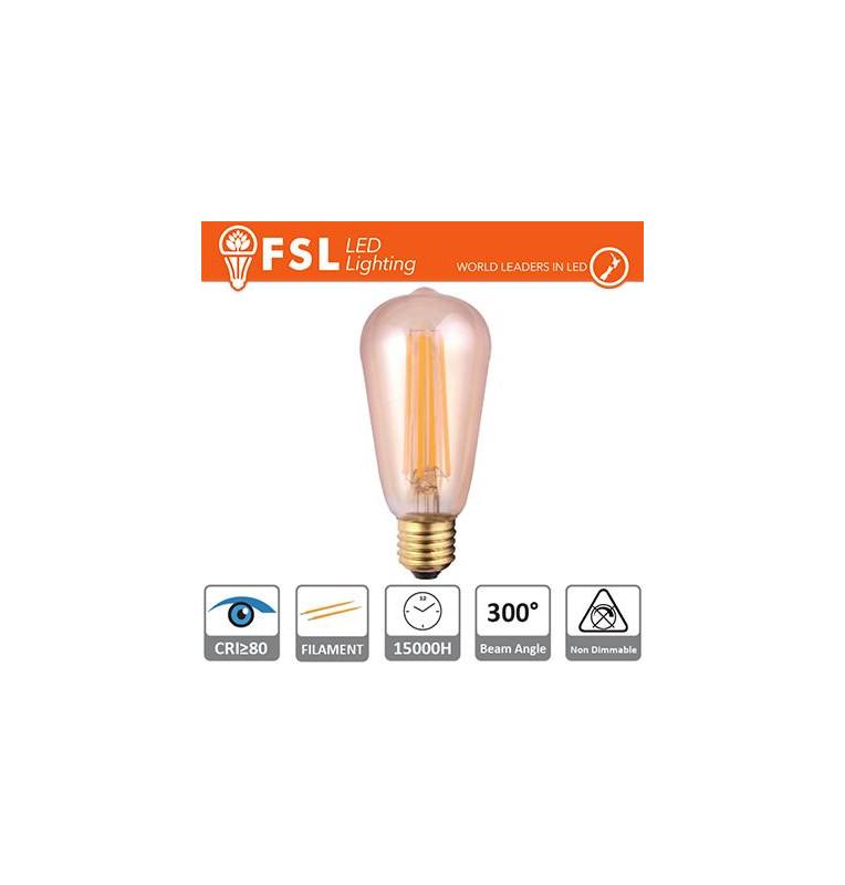 Lampada Edison Filamento Ambra - 6W 2200K E27 650LM