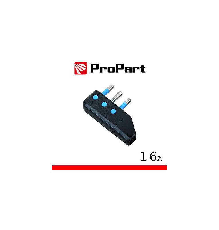 Spina 16A 2P+T uscita cavo 90° nera polybag