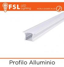BARRA Profilo Alluminio 6063 - ad Incasso - Barra 2 metri