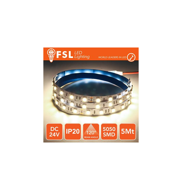 Striscia LED 5050 - 5Metri 12W 1100Lm 4000K 24V IP20 60led