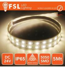 Striscia LED 5050 - 5Metri 12W 1000Lm 4000K 24V IP65 60led