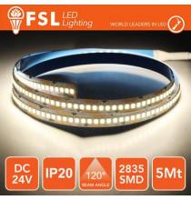 Striscia LED 2835 - 5Metri 16W 1800Lm 4000K 24V IP20 240led