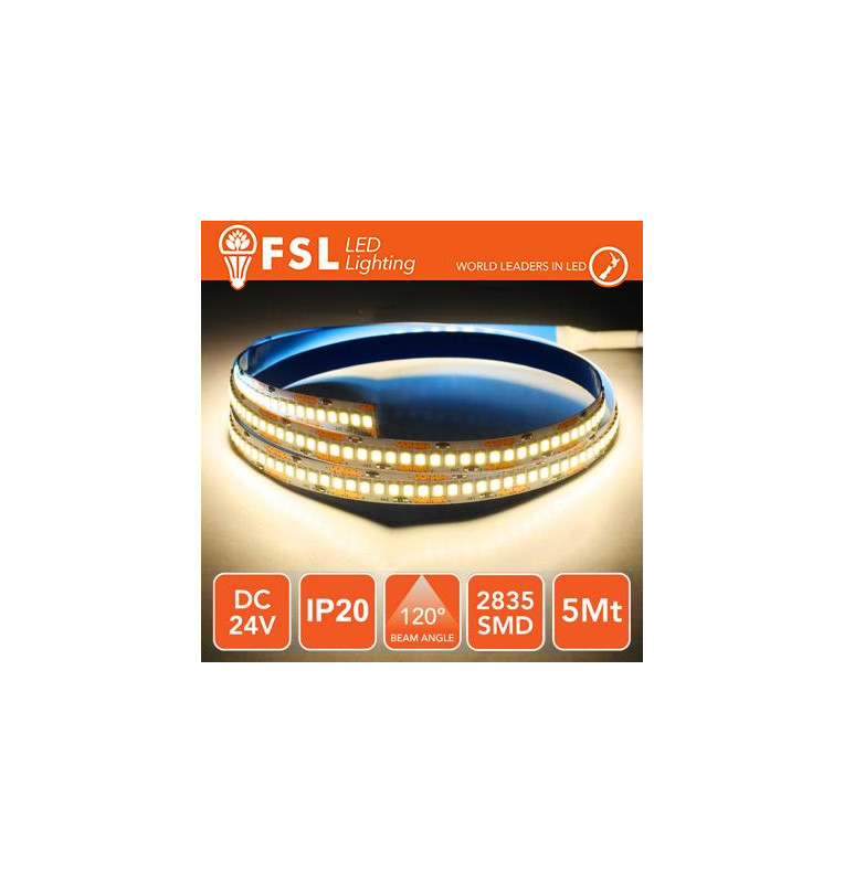 Striscia LED 2835 - 5Metri 16W 1800Lm 3000K 24V IP20 240led