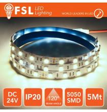 Striscia LED 5050 - 5Metri 12W 1100Lm 6500K 24V IP20 60led
