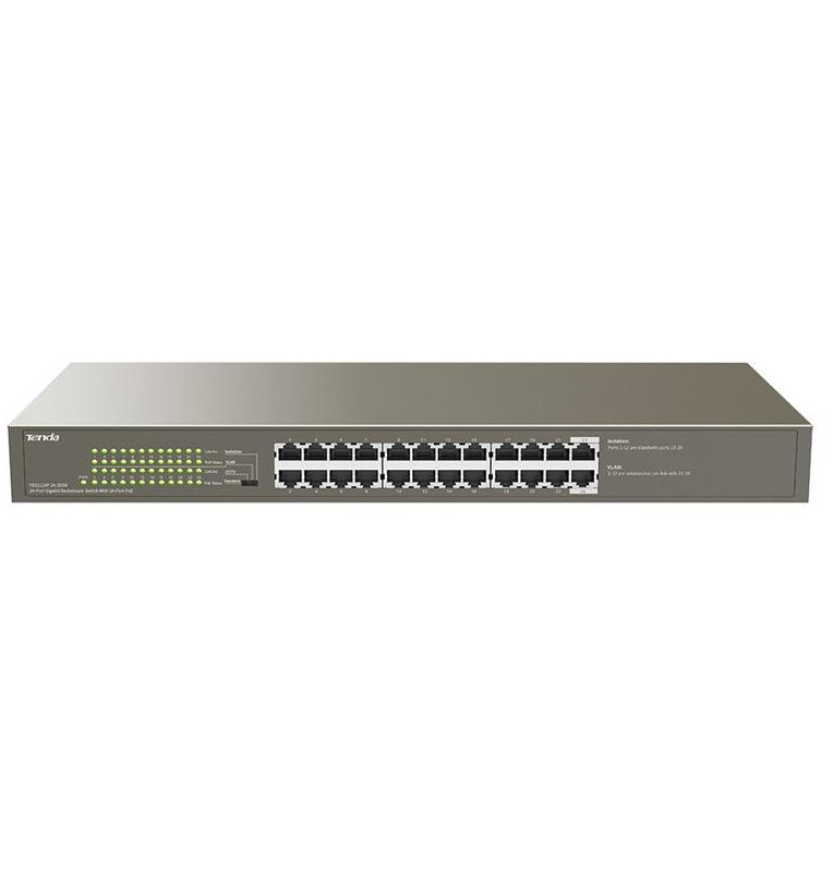 Switch 24 porte Gbit rack mount PoE Tenda TEG1124P-24-250W