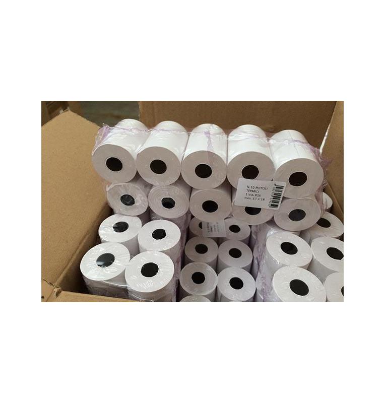 10x Rotolo per POS in carta termica mm 57 x 18 mtl