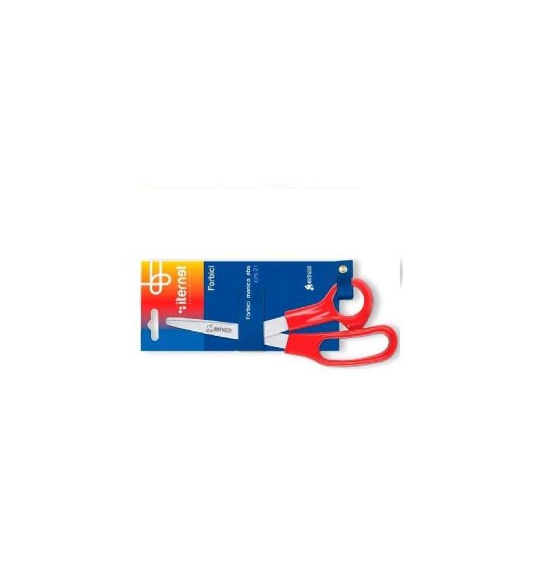 Forbice in acciaio 21 cm con manico in ABS rosso