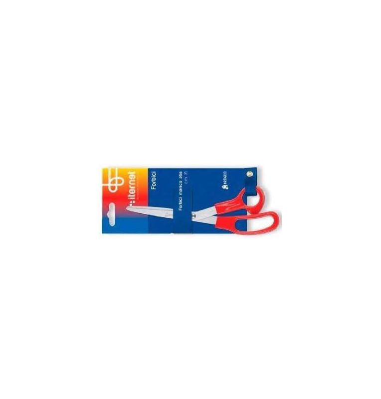Forbice in acciaio 18 cm con manico in ABS rosso