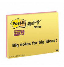 Post-it® Super Sticky Meeting Notes NEON 200 x 149 mm  4 pz.