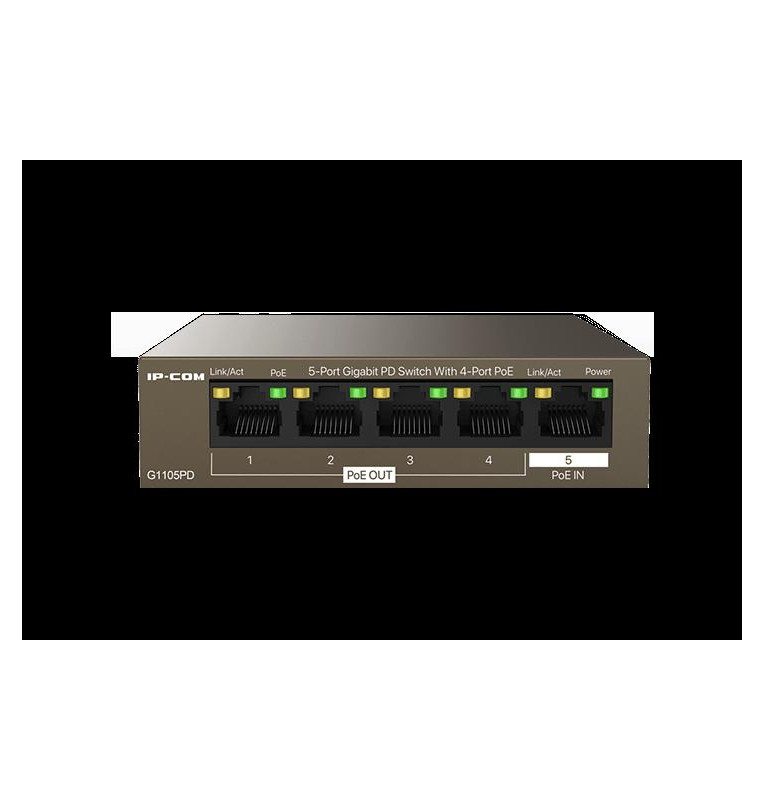 Switch 5 porte Gigabit PD - 4 porte PoE OUT 1 porta PoE IN