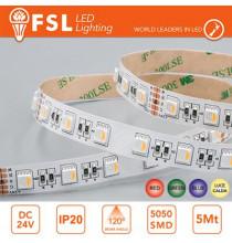 Striscia LED 5m IP20 5050 24V - 14W/m 60led/m RGB+W 3000K