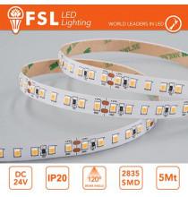 Striscia LED 5m IP20 2835 24V - 12W/m 120led/m 3000K